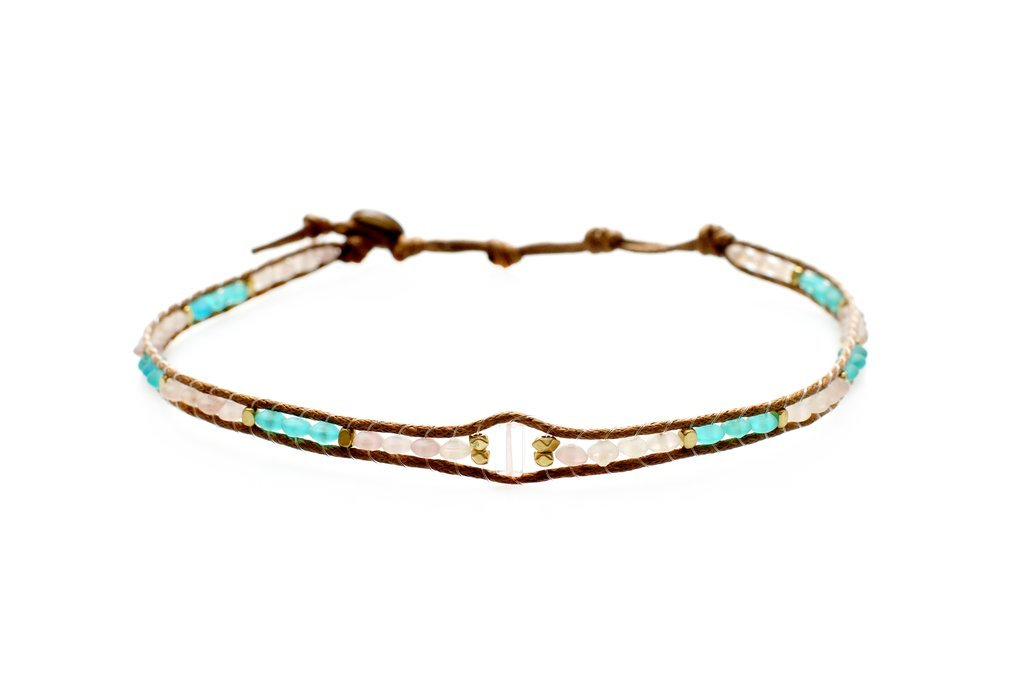 Lotus and Luna Ocean Spray Bae Quartz Seaglass Choker Necklace Double Wrap Bracelet