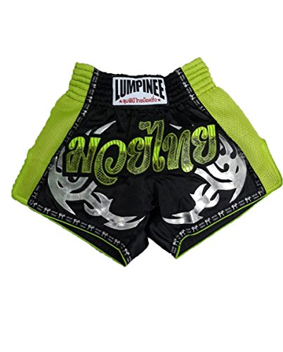 LUMPINEE Black Retro Original Muay Thai Shorts for Kick Boxing Fight LUMRTO-011