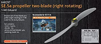 for Eduard Kit SE.5a in 1:48 EDUARD BRASSIN 648297 Propeller Two-Blade Right