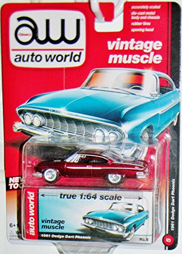 auto-world-1961-dodge-dart-164-scale-vintage-muscle-ultra-red-chase