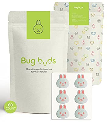 BUG BUDS Mosquito Repellent Patch 60-COUNT All-Natural Non-Toxic DEET-Free 24-Hour Travel Accessories Bug Insect Stickers Essential Oils 100% Safe for Baby, Toddlers, Kids, and Adults Outdoor/Indoor