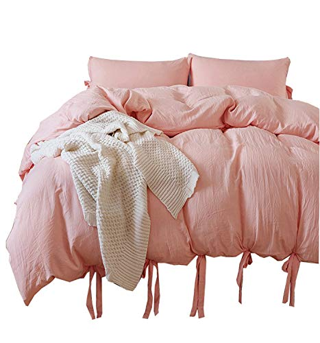 Meaning4 Bowknot Bow Tie Ribbon Butterfly Bowtie Duvet Cover Set Polyester Full or Queen Size Light Pink 3 pcs(1 duvetcover + 2 (Queen Pink Ribbon)