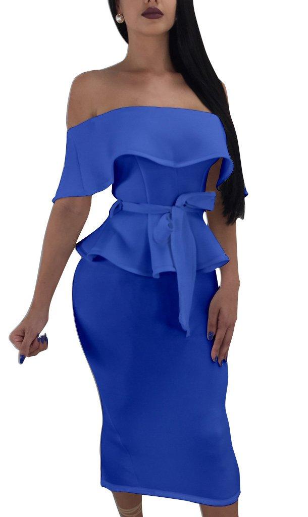 Darceeneth Women Elegant Off Shoulder Ruffle Cocktail Party Midi Dress Suit Bodycon Skirt Two Piece Set Blue XL