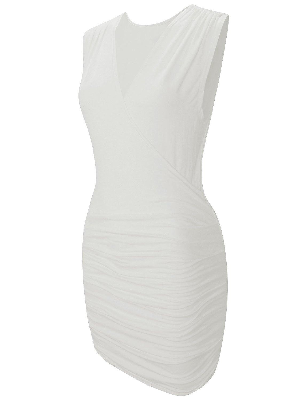 HRYfashion Damen Wickelkleid eng anliegend V-Ausschnitt Minikleid aermellos
