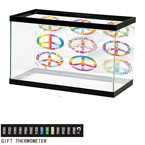 bybyhome Fish Tank Backdrop Groovy,Rainbow Color Peace Symbols,Aquarium Background,36