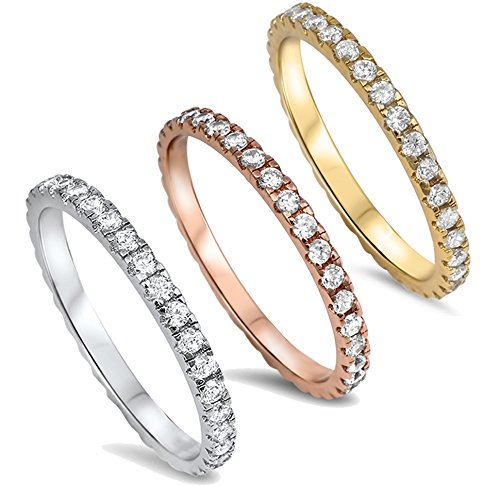 14K Gold Plated Sterling Silver AAA CZ Simulated Diamond Stackable Ring Eternity Bands for Women