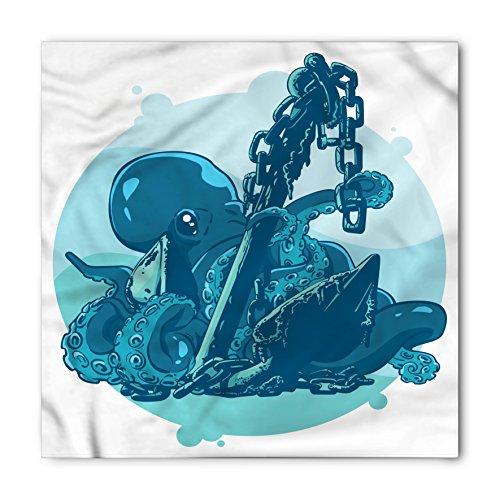Lunarable Unisex Bandana, Octopus Anchor in Ocean Retro Art, White Blue