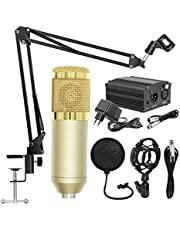 RuleaxAsi BM800 Professional Suspension Microphone Mobile Phone Broadcasting Recording Condenser Microphone Set with 48V Power Supply Appliance