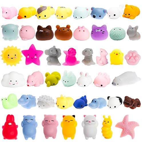 (WATINC 40 Pcs Mochi Squishies Toy, Squeeze Cat Squishies for Mochi Party Favors, Birthday Gifts for Boys & Girls, Mini Cute Animal Squishies Toys, Kawaii Stress Relief Toys, Goodie Bags Egg Fillers)
