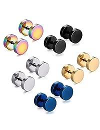 FANSING Punk Earrings Cheater Fake Ear Stretchers Tunnel Plugs Men Women Unisex - 5 Pack - Stainless Steel Hypoallergenic