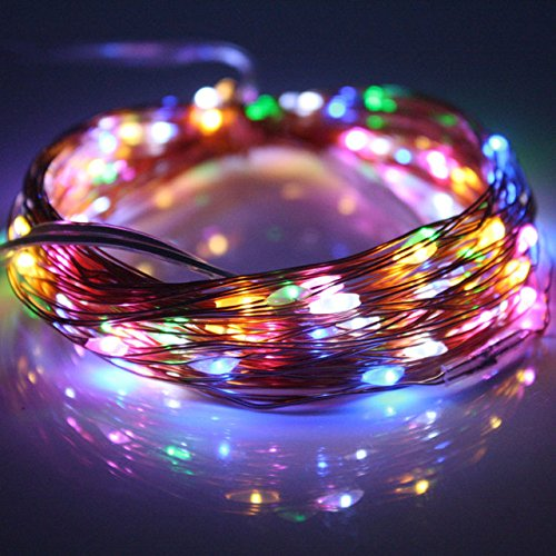 LED string lights 2Pcs(Total with 200LEDs 33FT)Dimmable Outdoor/Indoor Starry String Lights, Warm White Copper Lights with Remote Control for Garden Room Patio Party DIY any Decoration (Multi Color) by DALAMODA