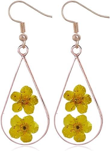 Clip on Earrings Pressed Flower Earring Multicolor Natural Dried Pressed Real Flowers Teardrop Earrings