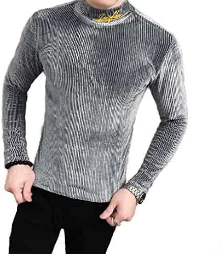 YUNY Mens Long Sleeve Button Slim Fitted Classic Plaid Vogue T-Shirts 8 M