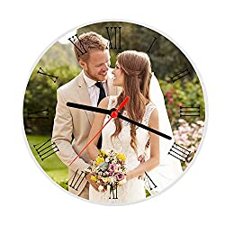 Moonlove Personalized Crystal Glass Photo Frame Plaque Photo Print,Desktop Round Picture Frames with Time Clock, Customized Birthday Wedding Valentine's Day Christmas Photo Gift