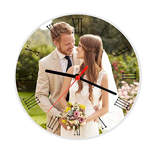 Moonlove Personalized Crystal Glass Photo Frame Plaque Photo Print,Desktop Round Picture Frames w/Time Clock, Customized Birthday/Wedding/Valentine's Day/Christmas Photo Gift