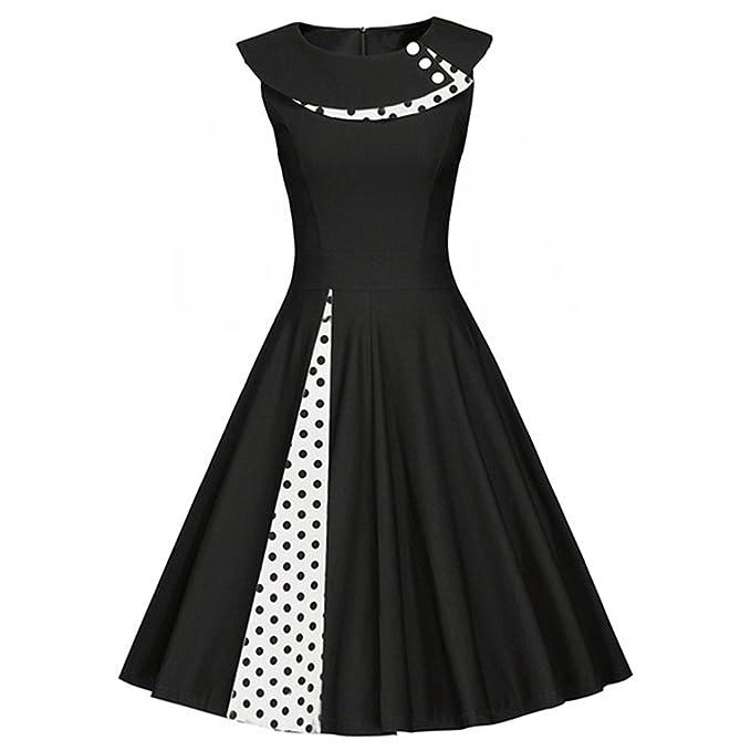 c9165bef3c96 iBaste Vestiti Donna Vintage Anni  50 Polka Dots Swing Abito da Cocktail Senza  Maniche Rockabilly Dress  Amazon.it  Abbigliamento