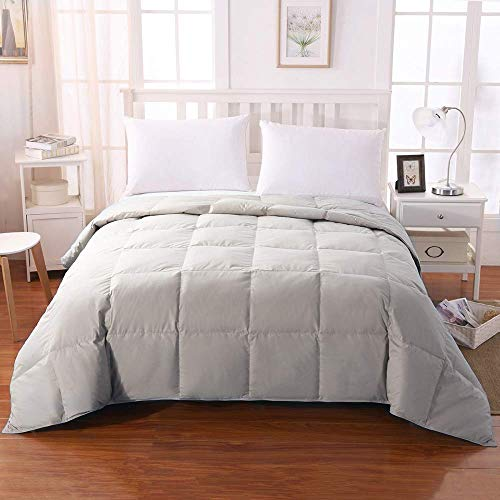 (WhatsBedding 100% Cotton Down Comforter Goose Duck Down and Feather Filling,Hypoallergenic Comforter. All Season Duvet Grey Insert or Stand-Alone Down Comforter (Light Gray Comforter Queen))