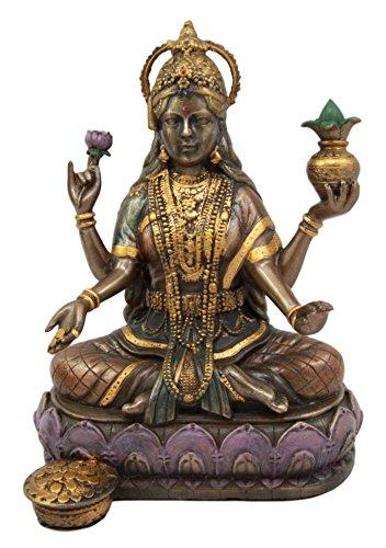 (Ebros Hindu Goddess Lakshmi Meditating On Lotus Throne Statue 6.5