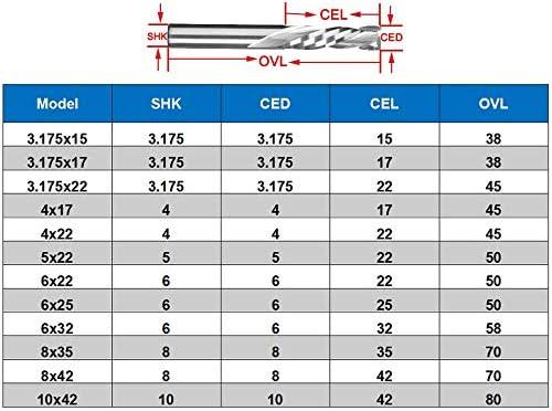 GENERICS LSB-Werkzeuge, 1 stück 3,175/4/5/6/8 / 10mm UP & DOWN Schneiden Zwei Flöten Spirale Schaftfräser CNC Bit Kompression Holz Schaftfräser Holzbearbeitungswerkzeuge (Dimensions : 6x22)