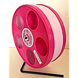 "SMALL ANIMAL 11 ""DIAMETER WODENT EXERCISE WHEEL(PINK W. LAVENDER TRACK)TOTAL HEIGHT 12.3"""