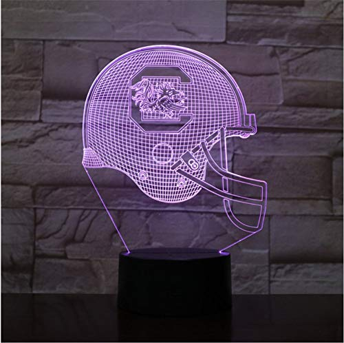 (KLSOO 3D Led Night Light USB South Carolina Football Helmet Children Kids Gift Color Changing Table Lamp Bedroom)