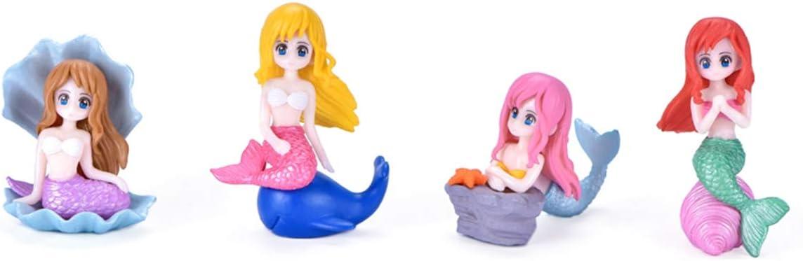 Set of 4 Little Mermaid Cake Topper Decoration - Shell Mermaid Ariel Fairy Garden Supplies Birthday Decor