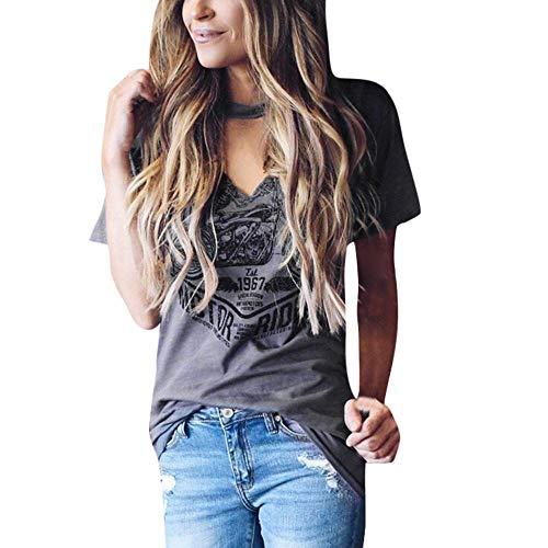 61182c68c1ca ZZpioneer Women's Causal Short Sleeve Choker V Neck Blouse Stylish Print  Tops T-Shirts(XL,Gray)