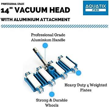 "Heavy Duty Manual Swimming Pool Vacuum 14/"" w// ball bearing wheels DELUXE Pro Vac"