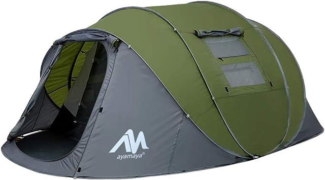 Tienda de campaña para 4 – 6 Personas/Hombre, para Acampar instantáneamente [5 Ventanas] Impermeable de Doble Capa para 4 Estaciones, Refugio Grande ...