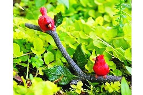 Mini Dollhouse FAIRY GARDEN Accessories - Little Cardinals on Branch - My Garden Miniatures (Cardinals Mini Garden)