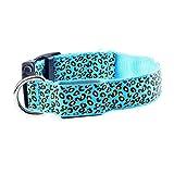 Viskey LED Leopard Print Pet Collars, Blue, Large Size