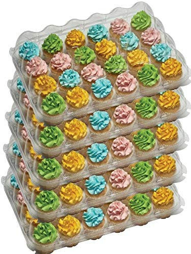 5- 24 Compartment cupcake containers plastic disposable High Dome Cupcake carrier Plastic Boxes - Great for high topping - 24 slot each - Plus White standard size baking cups