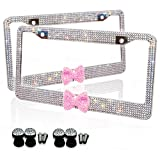 Zone Tech Shiny Bling License Plate Cover Frame - Silver Crystal with Red Ribbon Bow Premium Quality Novelty/License Plate Frame with Mounting Screws