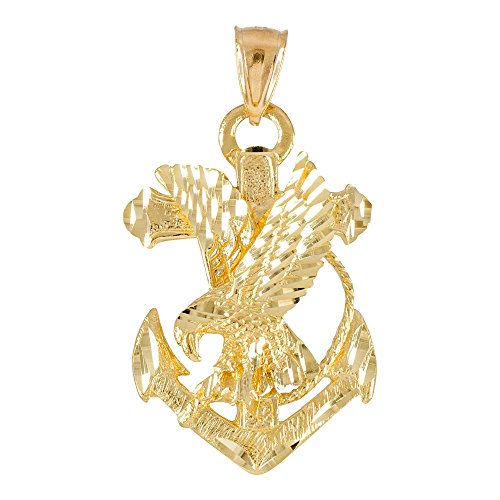 American Heroes 10k Yellow Gold Navy Eagle Anchor Necklace Pendant