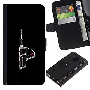 Be-Star la tarjeta de Crédito Slots PU Funda de cuero Monedero caso cubierta de piel Para Samsung Galaxy S5 V SM-G900 ( Power Tool Drill Black Manly Tool )