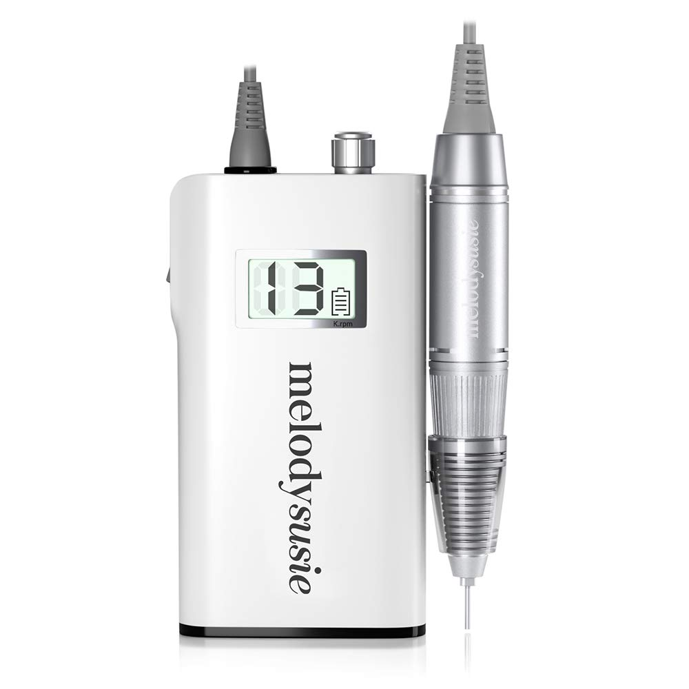 MelodySusie Professional Rechargeable 30000 rpm Nail Drill, Portable Electric E File Scamander, Acrylic Gel Grinder Tools with 6 Bits and Sanding Bands for Manicure Pedicure Shape Carve Polish, White by MelodySusie (Image #1)