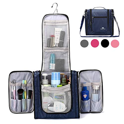 Large Hanging Travel Toiletry Bag for Men and Women Waterproof Makeup Organizer Bag wash bag Shaving Kit Cosmetic Bag for Accessories, Shampoo,Bathroom Shower, Personal Items DarkBlue