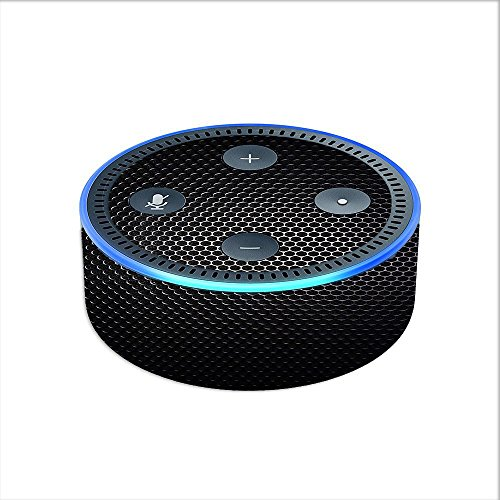 Price comparison product image Skin Decal Vinyl Wrap for Amazon Echo Dot 2 (2nd generation) / Black Metal Pattern