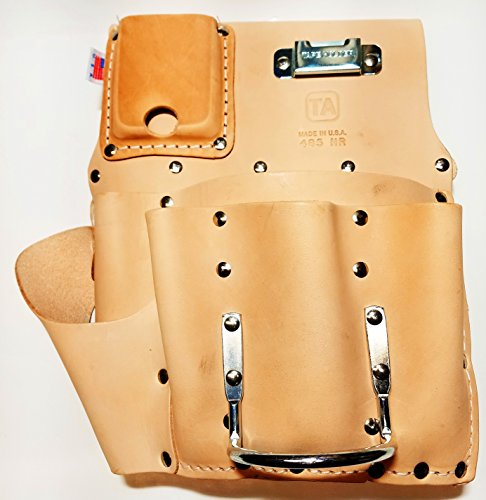 TA485MR, 7 Pocket Leather Drywall Tool Pouch - Right Hand, Made in USA (Drywall Pouch Pocket)