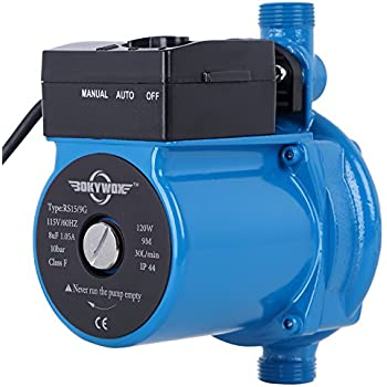BOKYWOX 120W 110V Automatic Booster Pump NPT3/4'' Domestic Hot Water Circulator Pump 120W,For Solar Heater Circulating System Shower&Tap (RS15/9B)