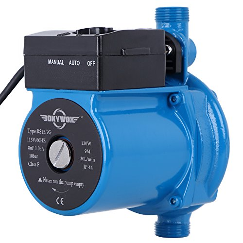BOKYWOX 120W 110V Automatic Booster Pump NPT3/4'' Domestic Hot Water Circulator Pump 120W,For Solar Heater Circulating System Shower&Tap (RS15/9B) (Booster Pump For Shower With Low Pressure)