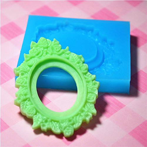 (002LBO Ornate Victorian Frame Setting Silicone Push Mold - Jewelry, Charms (Clay Fimo Casting Resin Wax Gum Paste Fondant))