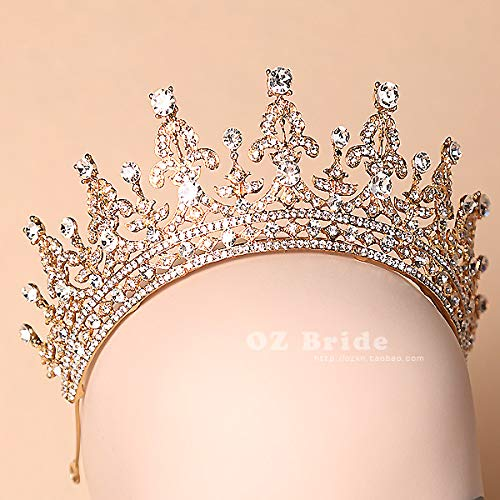 Tiara Bridal Headdress Golden Crown Novia Wedding Hair Jewelry