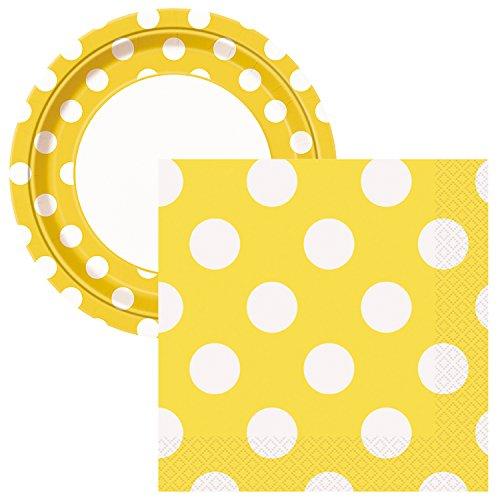 Elegant Entertaining Sunflower Yellow Polka Dot Party Tableware Plate and Napkin Set Serves 16
