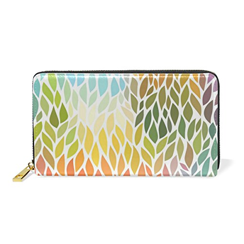 And Wallet Leaves Womens Colorful Handbags TIZORAX Around Organizer Purses Clutch Zip YqSnCwv