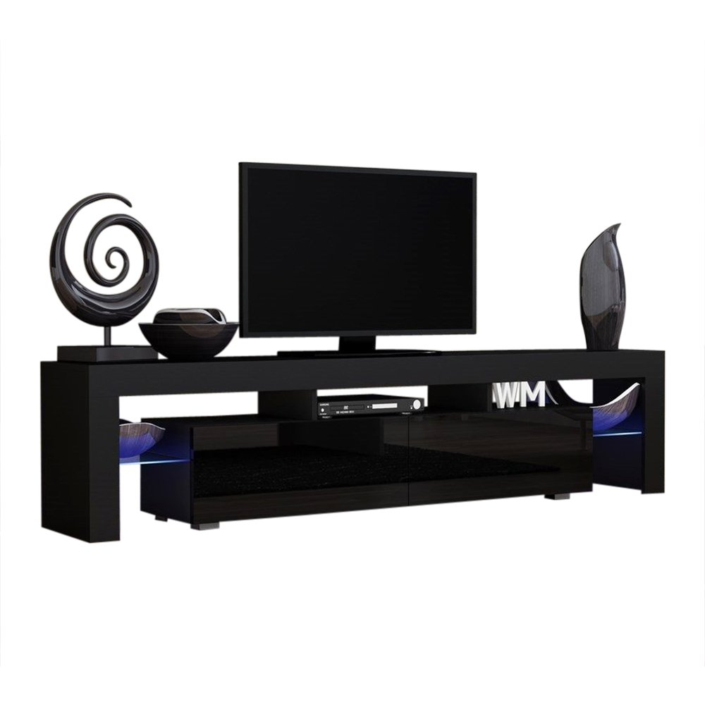 TV Stand Solo 200 Modern LED TV Cabinet/Living Room Furniture/Tv Cabinet fit for up to 90-inch TV Screens/High Capacity Tv Console for Modern Living Room (Black/Black) by MEBLE FURNITURE & RUGS