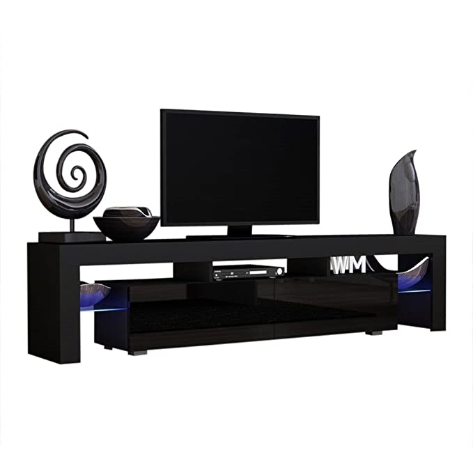 Concept Muebles TV Stand Milano 200 Black Body/Modern LED TV Cabinet/Living Room Furniture/Tv Cabinet fit for up to 90-inch TV Screens/High Capacity ...