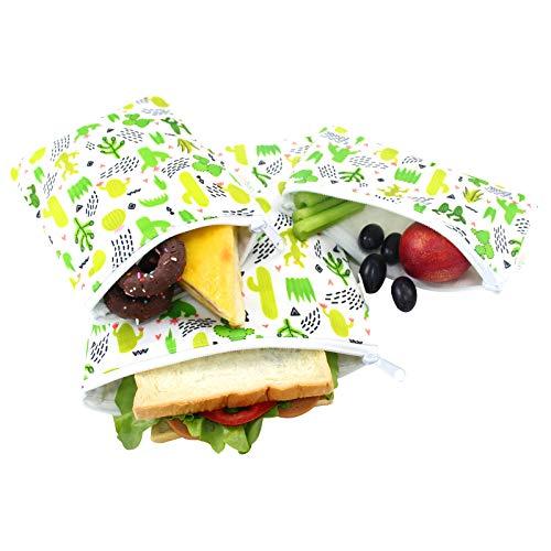 Langsprit Premium Reusable Sandwich & Snack Bags-Washable Lunch Bags