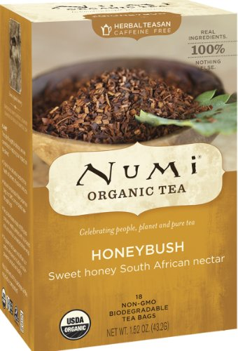 Numi Organic Tea--Honeybush--18 Count non-GMO Tea Bags--Caffeine Free Herbal Teasan--Premium Organic Non-Caffeinated Tisane