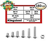 Kingsteel 304 Professional Stainless Steel M4 Flat Round Head Inner Hexagon Screws Bolts Nuts Assortment Kit(180pcs)-M4